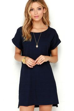 Obey Tatum Dress - Navy Blue Dres - Shirt Dress - T-Shirt Dress - $65.00