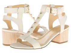 Ivanka Trump Sassoni Ivory Leather Women's Heels Sandals Size 8.5 M #IvankaTrump #HeelsSandalsTStrapAnkleStrap #Casual