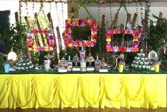 Dessert buffet with flower frames
