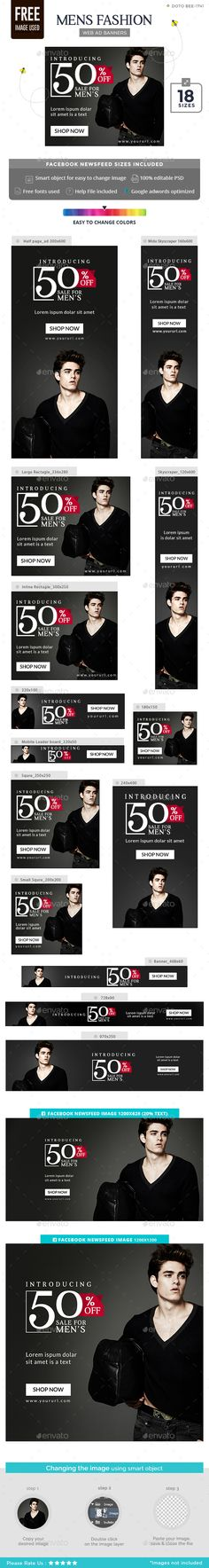 Men Fashion Banners - #Banners & Ads #Web Elements Download here: https://graphicriver.net/item/men-fashion-banners/18566185?ref=alena994
