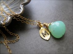Initial Pendant with Gemstone and  initial of your by SMVdesigns, $35.00