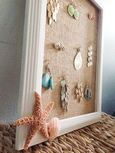 Beach Decoration - Beach Themed Earring Holder -Beach Decor Seashell - Beach Decor Starfish Fish and Shell Earring holder Jewelry Organizer