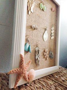 Beach Decoration - Beach Themed Earring Holder -Beach Decor Seashell - Beach Decor Starfish Fish and Shell Earring holder Jewelry Organizer