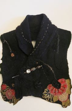 Black felted scarf with old lace...