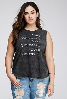 Love Yourself Muscle Tee | Forever 21 PLUS | #f21plus