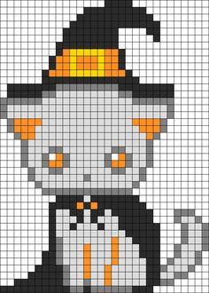 Spooky Kitten Witch Perler Bead Pattern / Bead Sprite