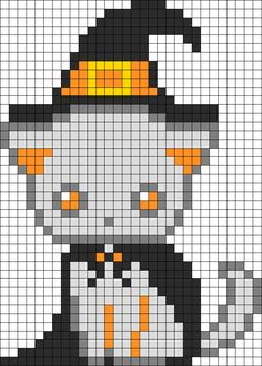 Spooky Kitten Witch Perler Bead Pattern / Bead Sprite