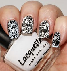 The base is Lacquester One Coat Wonder Black and Lacquester One Coat Wonder White stamped with the same two polishes – black over white and vice versa, plate Infinity 137, stamper Fab Ur Nails Jumbo Stamper.