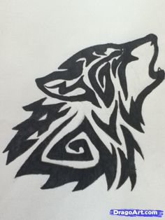 How to Draw a Howling Tribal Wolf, Step by Step, Tattoos, Pop Culture, FREE Online Drawing Tutorial, Added by Links_Triforce, May 5, 2012, 11:26:11 am