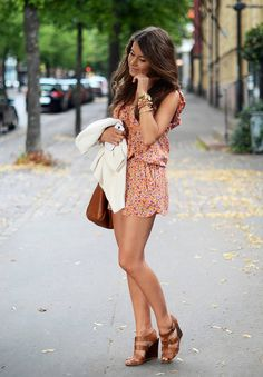 liberty print romper with cognac brown accessories