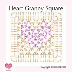 Transcendent Crochet Solid Granny Square Ideas That You Would Love Ideas Crochet Granny Square Patterns Heart Granny Square Crochet Pattern….and a CAL! Heart Granny Square, Motifs Granny Square, Granny Square Pattern Free, Granny Square Blanket, Granny Square Crochet Pattern, Crochet Diagram, Crochet Chart, Crochet Squares, Granny Squares