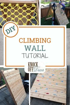 Make this cool Backyard Climbing Wall for the kids to burn off some energy this summer. Both boys and girls will have hours of fun outside using this climbing wall - and it's easy to do if you're on a budget! Find out how to make this exterior DIY project Kids Outdoor Play, Kids Play Area, Backyard For Kids, Backyard Projects, Diy For Kids, Diy Projects, Garden Projects, Garden Ideas, Kids Rock Climbing