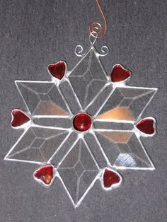 Stained Glass Beveled Star Ornament With Hearts by glassden, $14.50