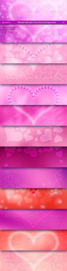 A lot of variants (12 blurry backgrounds   5 versions of hearts   stars   mist) different Blurred Valentines Day Hearts Backgrounds. Valentines Day Style.Great for your creativity, for website, 3d programs, banners, billboards, presentations, business cards, postcards, leaflets, flyers, flash and web backgrounds, desktop backgrounds and more.Prese