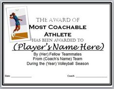 An exciting certificate of achievement for a volleyball