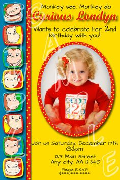 Curious George Birthday Invitation by KiddiePartySupplies on Etsy, $12.00