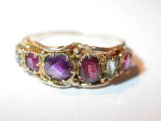 Antique Gold Ring Ruby Emerald Garnet Amethyst Diamond C 183
