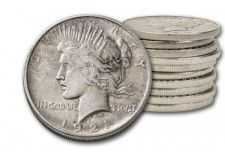 1921-1935 1 Dollar Peace Silver XF 10pc