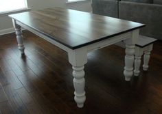 This listing for a custom built 5 chunky leg farmhouse table by Youre Unique. This table is designed and hand crafted by Atlanta Artisans. All of our