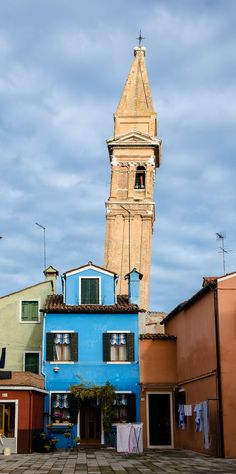 The leaning campanile of the church of San Martino, Burano, Italy