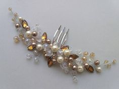 Excited to share the latest addition to my #etsy shop: Pearl hair comb Crystal hair comb Rhinestone hair piece Champagne hair jewelry Pearl headband wedding hair comb Bridal hairpiece https://etsy.me/2wMkm9w