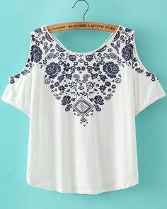 White Off the Shoulder V Neck Floral Blouse -SheIn(Sheinside)