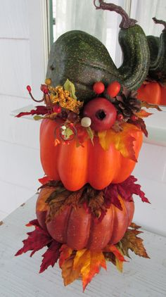 Pumpkin Topiary, Fall Topiary, Autumn Topiary, Thanksgiving Topiary, Fall Décor, Autumn Décor, Shabby Chic, Repurposed, Reclaimed, Upcycled, by SilvaLiningDesigns on Etsy
