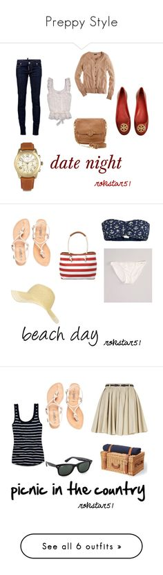 """Preppy Style"" by rokstar51 ❤ liked on Polyvore featuring Dsquared2, Tory Burch, J.Crew, Abercrombie & Fitch, Michael Kors, date, preppy, OBEY Clothing, American Eagle Outfitters and Nine West Preppy Style, Beach Day, Dsquared2, Abercrombie Fitch, American Eagle Outfitters, Tory Burch, J Crew, Michael Kors, Shoe Bag"