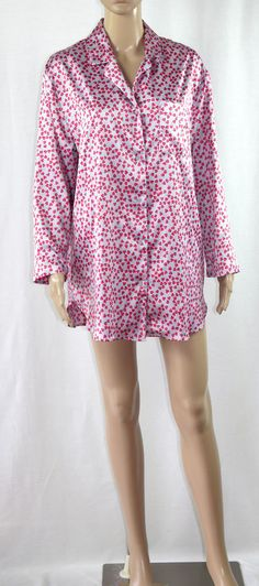Victoria's Secret Sleep Shirt Nightgown Size Small Woman's Hearts Satin…