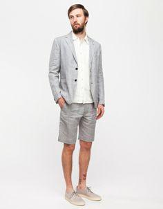 Men's Grey Print Crew-neck T-shirt, Navy Shorts, Red Suede Tassel ...