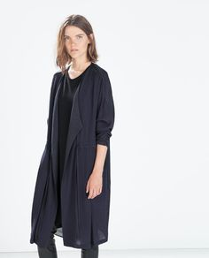 Image 2 of FLOWY GATHERED COAT WITH BELT from Zara
