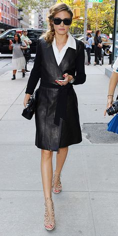 olivia-palermo-Diane-von-Furstenberg-Leather-Wrap-Dress