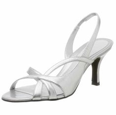 Low heel comfortable mother of the bride shoes for women in silver