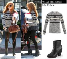 Isla Fisher wore grey knit sweater and black ankle boots on October 10 2012