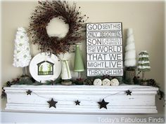 Love this!  Christmas mantel that can be change to a winter mantel just by turning the subway art around and swapping the plate for snowman.  This would really be pretty in my office!