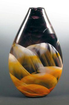 Amber,+Black+&+White+Teardrop+Vase by Mark+Rosenbaum: Art+Glass+Vase available at www.artfulhome.com