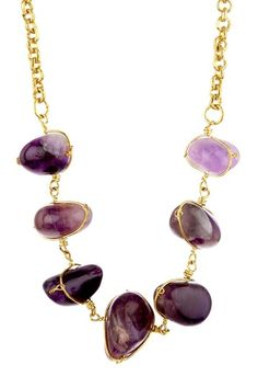 Amethyst & Gold Necklace.