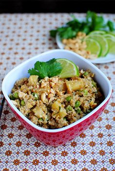 Thai Fried Quinoa - delicious!! Modifications: I used a whole can lite coconut milk (about 1&3/4 cup) and the rest broth to equal 2 cups liquid. I found this made the quinoa need to cook a bit longer. Also, I subbed corn for peas cause I don't like peas. And probably more like almost 1 lime of juice.