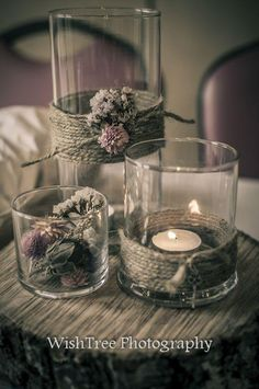 vases and twine from Dollar tree- add tea light candles and potpourri