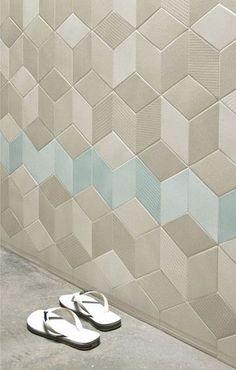 Carrelage mural / en céramique / d'intérieur / aspect mosaïque - TEX :CREAM-BLUE by Raw Edges - MUTINA