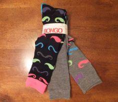 NWT Womens Set of 3 Pairs Knee High Socks MUSTACHE PRINT & SOLID Gray Black Pink