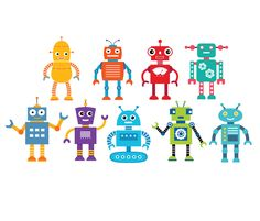 9 Wall Decals ROBOTS Children Bedroom Playroom Printed Vinyl or Reusable Fabric Decal Work with Textured Walls by KiddyWalls on Etsy https://www.etsy.com/listing/197099020/9-wall-decals-robots-children-bedroom