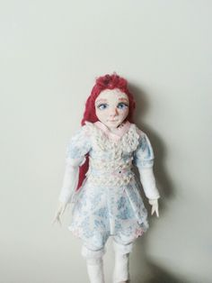 This is the scale 1/12 miniature doll I made last week :)
