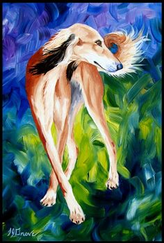 """""""Saluki Twist"""" - a lovely painting by  artist LJ Grove (from Etsy) - oh how I love those black fringed, red salukis :-)"""