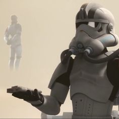 An Imperial Jumptrooper contacts his Commander via Hologram.