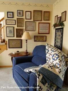 Heartspun Quilts ~ Pam Buda: Behind The Scenes of Photo Shoot At My Home-Part One ~ Union Blues Quilt