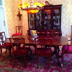 Found on EstateSales.NET: Chippendale Councill Craftsman Mahogony Dining Room Set - double pedestal, banded inlay table