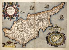 Cypri Insulae Nova Descript. 1573.  ORTELIUS, Abraham.    Antwerp, 1592, Latin text edition.     An early map of Cyprus drawn by Giacomo Franco and engraved by Joannes Deutecum, with inset of Lemnos. Included in the 'Additamentum I'....