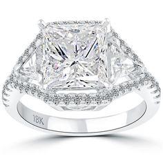 4.87 Carat F-I1 Princess Cut Natural Diamond Engagement Ring 18k Vintage Style #LioriDiamonds #DiamondEngagementRing