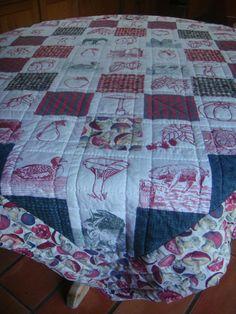 patchwork, couture main, broderies légumes d'automne, tissus animaux & carreaux